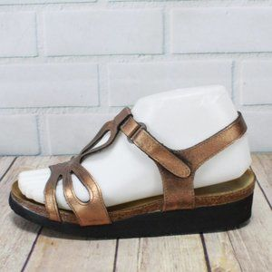 Naot Metallic Bronze Ankle Strap Sandals Size 6